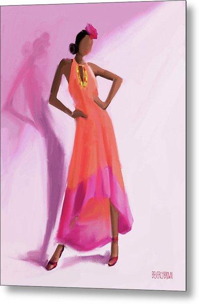 Long Orange And Pink Dress Fashion Illustration Art Print Metal Print