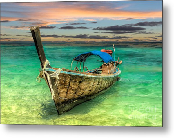 Longboat Sunset Metal Print
