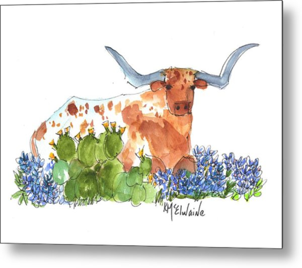 Longhorn In The Cactus And Bluebonnets Lh014 Kathleen Mcelwaine Metal Print