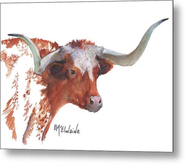 A Texas Longhorn Portrait Metal Print