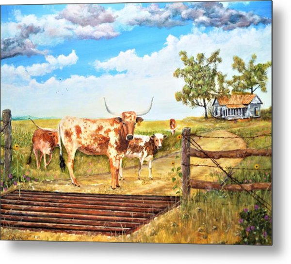 Longhorn Stand Off Your Place Or Mine Metal Print