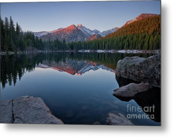 Longs Peak Reflection On Bear Lake Metal Print