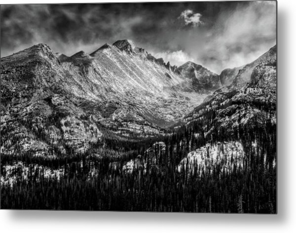 Longs Peak Rocky Mountain National Park Black And White Metal Print