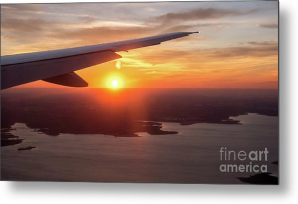 Looking At Sunset From Airplane Window With Lake In The Backgrou Metal Print