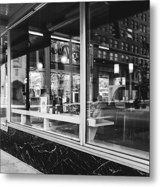 Looking Into A Diner. Black And White Street Photography. Metal Print by Dylan Murphy