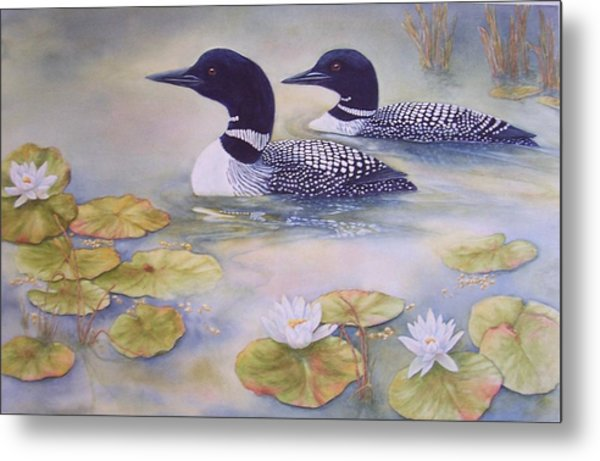 Loons In The Lilies Metal Print by Cherry Woodbury
