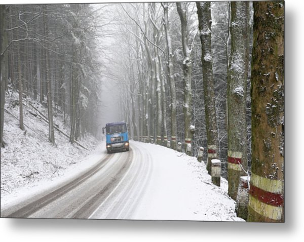 Metal Print featuring the photograph Lorry In A Frozen Woods by Dubi Roman
