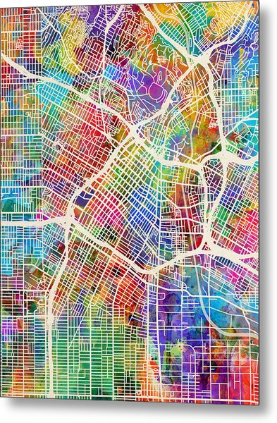 Los Angeles City Street Map Metal Print