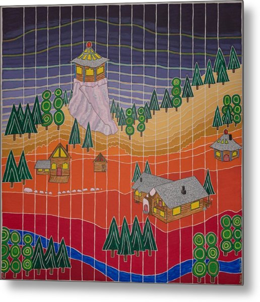 Lost Creek Lodge With Sun Temple Metal Print