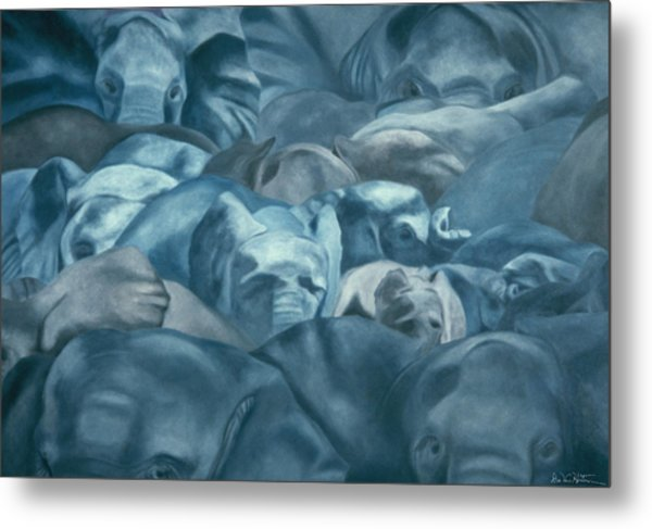 Elephants Lost In The Crowd Metal Print