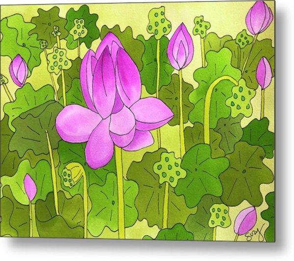 Lotus And Waterlilies Metal Print