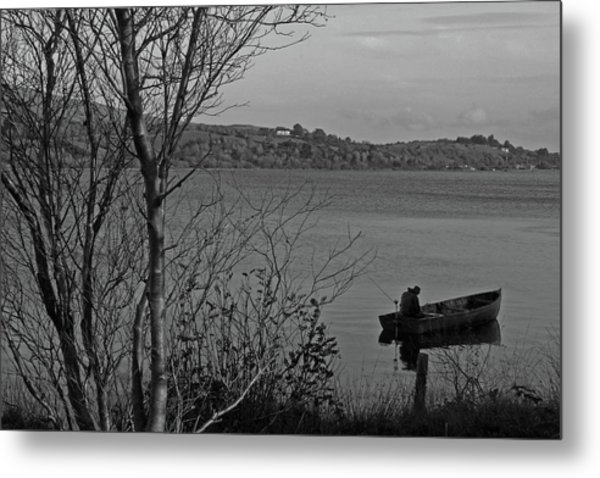 Fishing On Lough Fea Metal Print