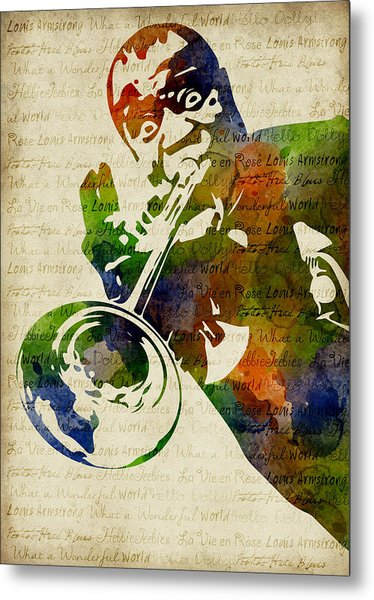 Louis Armstrong Watercolor Metal Print