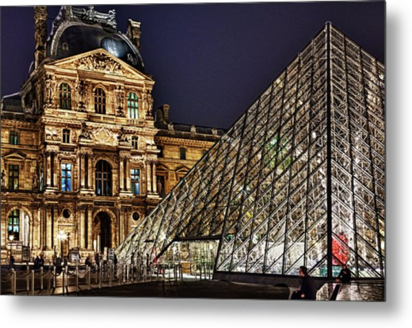 Louvre By Night I Metal Print