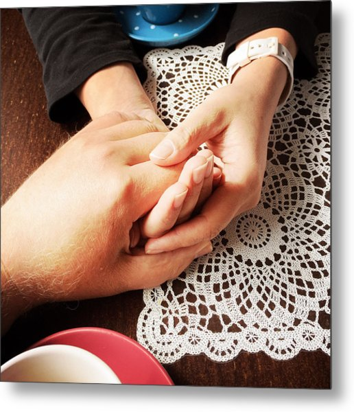 Love - A Couple Holding Hands Metal Print