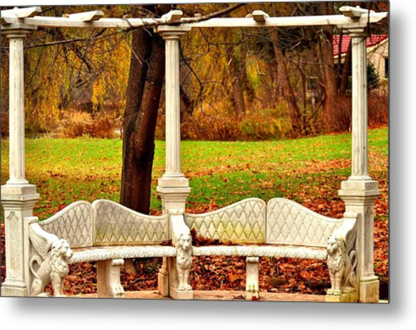 Love Bench Metal Print