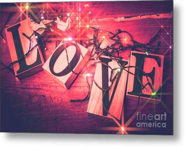 Love Birds And Wooden Sentiments Metal Print