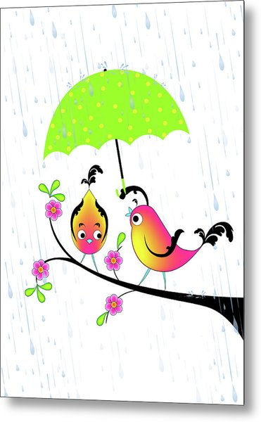 Love Birds In Rain Metal Print