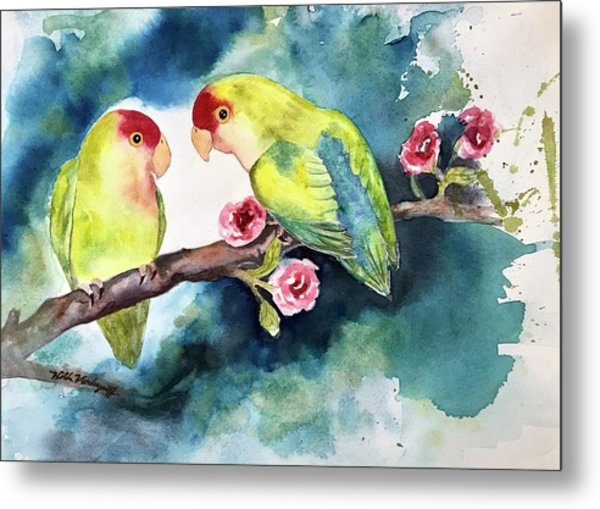 Love Birds On Branch Metal Print