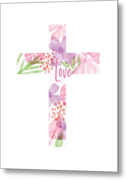 Love Floral Cross- Art By Linda Woods Metal Print