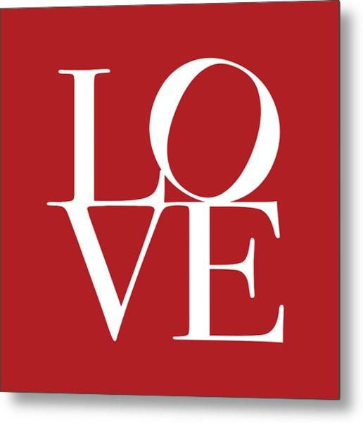 Love In Red Square Metal Print