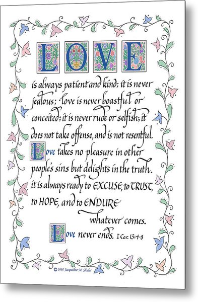 Love Is Always Patient-with Border Metal Print