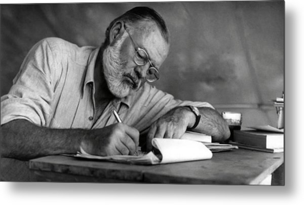 Love Of Writing - Ernest Hemingway Metal Print