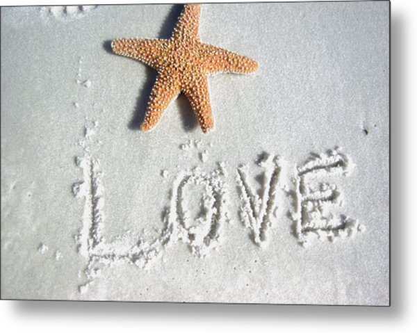 Love On The Sand Metal Print