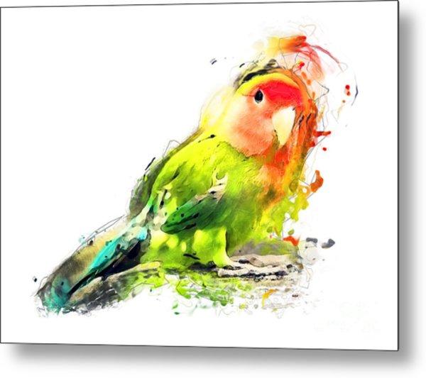 Lovebird Watercolor Painting Metal Print