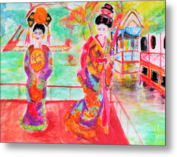 Lovely Asian Ladies Metal Print