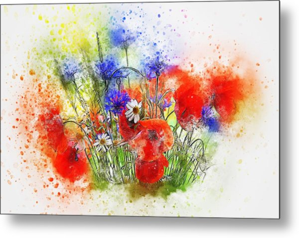 Watercolour Bouquet Metal Print