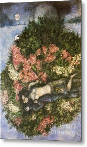 Lovers In The Lilacs Metal Print