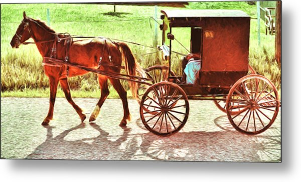 Lovers Red Pony Metal Print