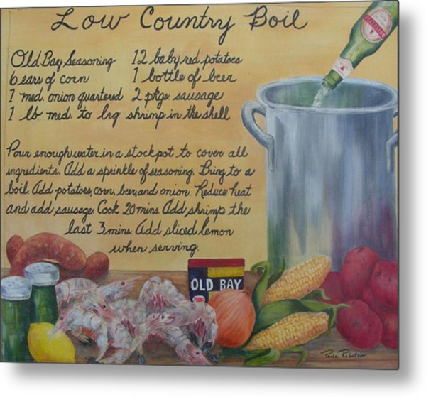 Metal Print featuring the painting Low Country Boil by Paula Robertson
