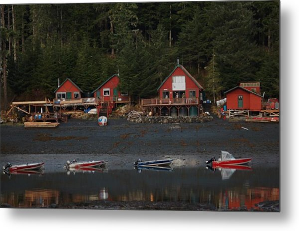 Low Tide At Fish Camp Metal Print