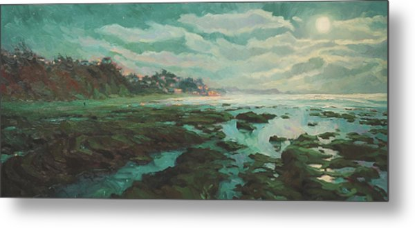 Low Tide At Moonlight Metal Print