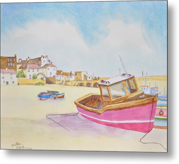 Low Tide Boat On The Beach Metal Print by Jonathan Galente
