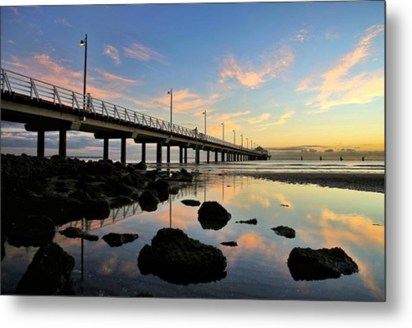 Low Tide Reflections At The Pier  Metal Print