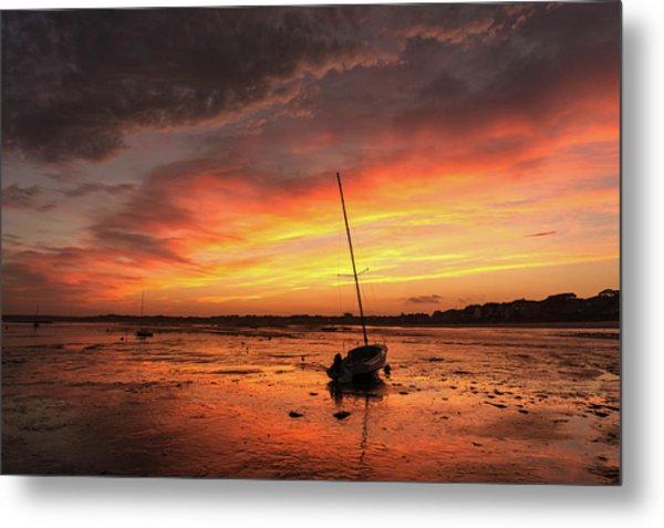 Low Tide Sunset Sailboats Metal Print