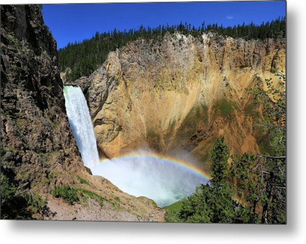Lower Falls With A Rainbow Metal Print