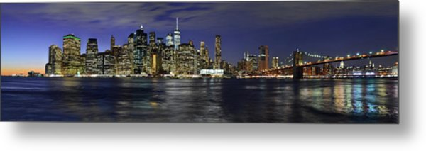 Lower Manhattan From Brooklyn Heights At Dusk - New York City Metal Print