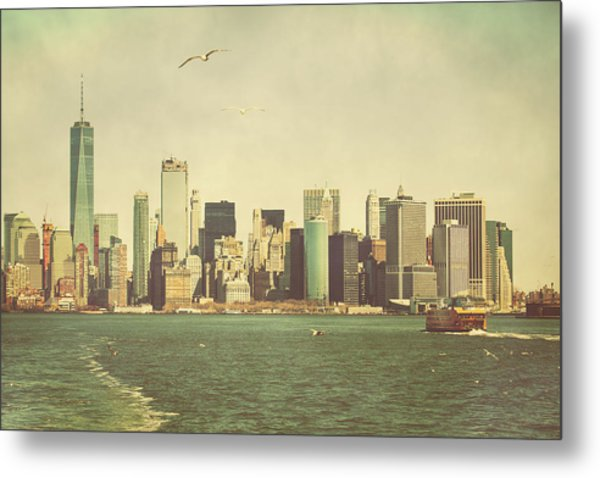 Lower Manhattan From The Ferry Metal Print by Erin Cadigan