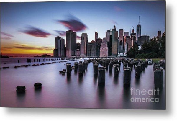 Lower Manhattan Purple Sunset Metal Print