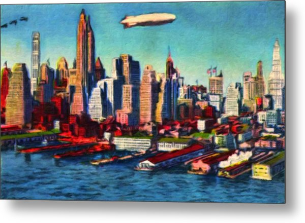 Lower Manhattan Skyline New York City Metal Print