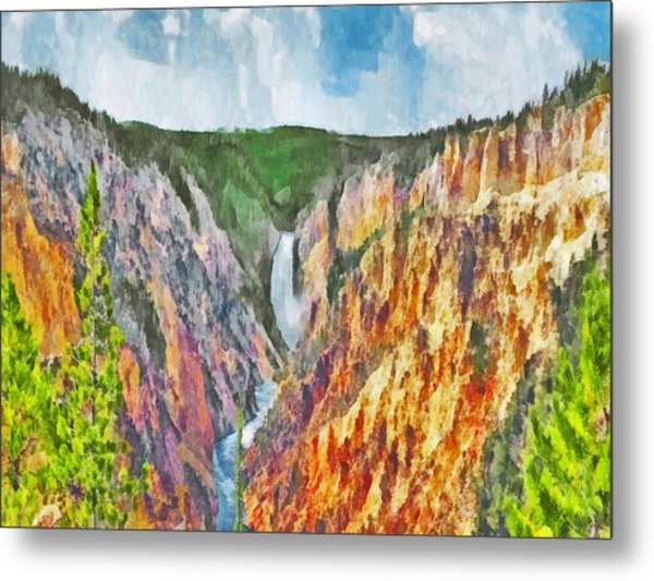 Metal Print featuring the digital art Lower Yellowstone Falls by Digital Photographic Arts