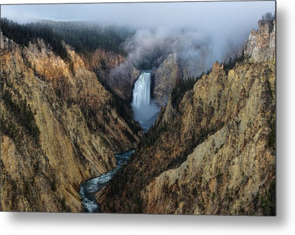 Lower Yellowstone Falls Sunrise Metal Print