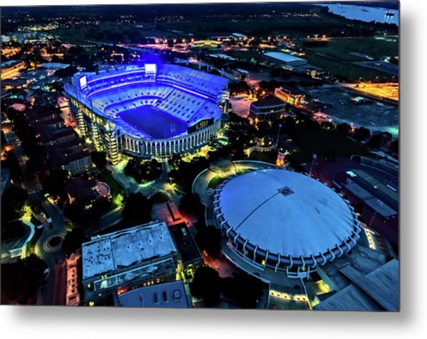 Lsu Tiger Stadium Supports Law Enforcement Metal Print