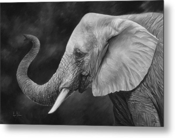 Lucky - Black And White Metal Print