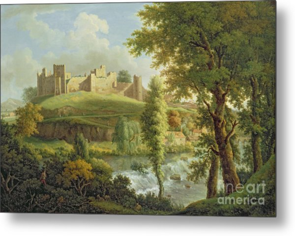 Ludlow Castle With Dinham Weir Metal Print