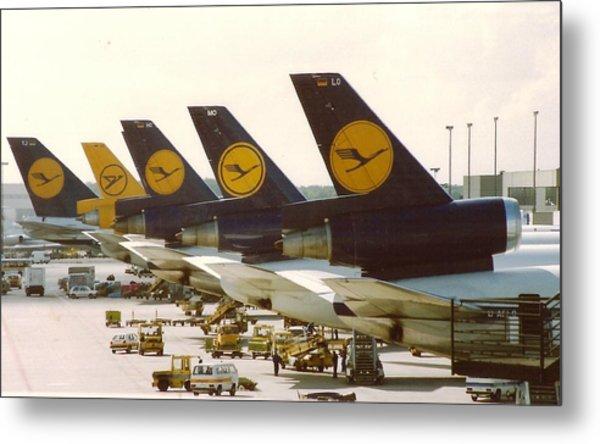 Lufthansa Dc-10s At Frankfurt Metal Print